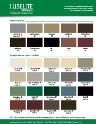 Standard Finish Color Guide Product Brochure